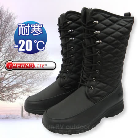 【都會輕熟女】女新款 高筒格菱紋專業保暖雪鞋、雪靴(附冰爪)_ SN197 黑