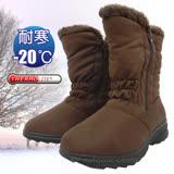 【簡約時尚】女新款 中筒簡約抓皺專業保暖雪鞋、雪靴(附冰爪)_咖啡 SN192