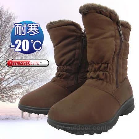 【簡約時尚】女新款 中筒簡約抓皺專業保暖雪鞋、雪靴(附冰爪)_ SN192 咖啡