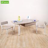 《DFhouse》羅浮宮雙抽大茶几+小型低背椅x2 *立體浮雕PVC表面*