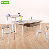 《DFhouse》羅浮宮雙抽大茶几+小茶几+小型低背椅x2 *立體浮雕PVC表面*