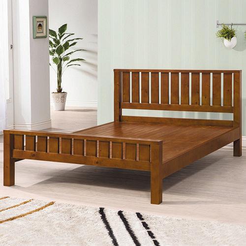 HAPPYHOME 奧斯卡實木樟木色5尺雙人床079~5^(床頭 床架^)
