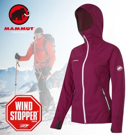 【瑞士 MAMMUT 長毛象】Ultimate Hoody 女新款 Windstopper 輕量耐磨快乾防風連帽軟殼外套_14930-6178 紫紅