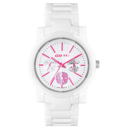GOTO 耀彩悸動三眼陶瓷時尚腕錶-粉紅x白