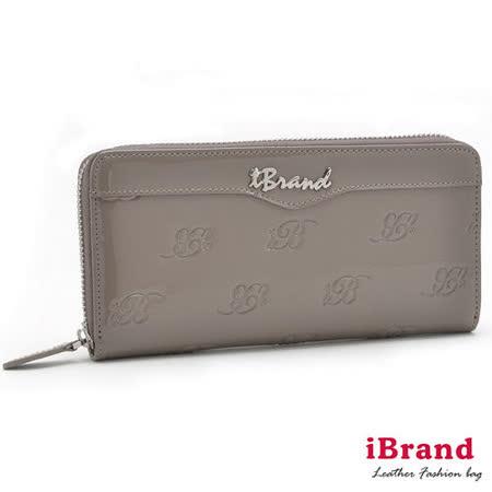iBrand真皮配件-漾彩玩色牛皮亮面logo皮夾-可可棕