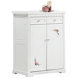 日式量販 義式彩繪2.8尺白色實木鞋櫃