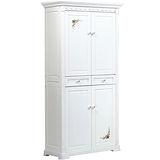 日式量販 義式彩繪2.8尺白色實木高鞋櫃