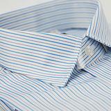【金安德森】藍色條紋緹花窄版長袖襯衫