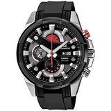CASIO EDIFICE系列 光速逆轉勝三眼賽車運動錶-紅x黑/膠帶