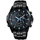 CASIO EDIFICE系列 永不放棄太陽能都會運動腕錶-藍x黑