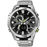 CASIO EDIFICE系列 王者氣焰雙顯計時腕錶-綠針x銀