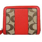 COACH PARK 直紋皮革織布拉鍊短夾(紅)