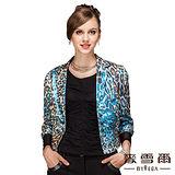 【麥雪爾】印花豹紋造型修身短外套