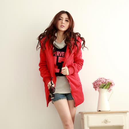 【S.Girl】韓系百搭刷毛長版外套-紅