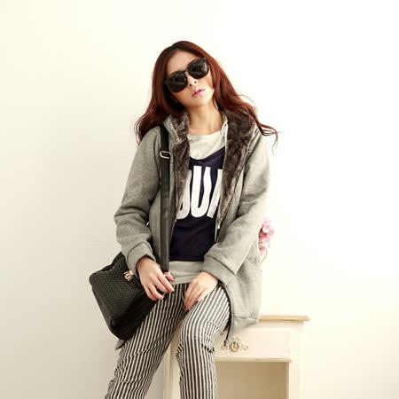 【S.Girl】韓系百搭刷毛長版外套-灰