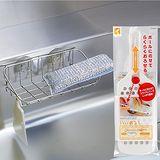【特惠組】日本LEC不鏽鋼流理台吸盤置物架+長型蔬果研磨器