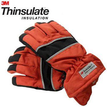 3M Thinsulate 保暖防水反光手套(適用女性/青少年) 橘/黑