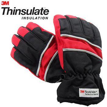3M Thinsulate 保暖防水反光手套(適用女性/青少年) 黑/紅