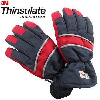 3M Thinsulate 保暖防水反光手套(適用女性/青少年) 藍/紅