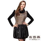 【麥雪爾】捲領豹紋拼接連身洋裝