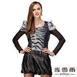 【麥雪爾】假兩件式豹紋連身裙