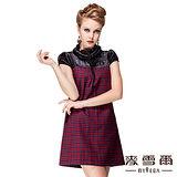 【麥雪爾】格紋短袖拉鍊造型連身洋裝
