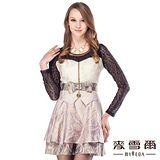 【麥雪爾】蝴蝶結造型假拼接式修身洋裝