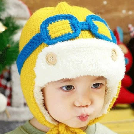 【PS Mall】韓版秋冬加絨眼鏡飛行員加厚保暖護耳男女兒童毛線帽 (J416)