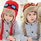 【PS Mall】秋冬潮帽小小飛行員加絨護耳兒童保暖毛線帽 (J408)
