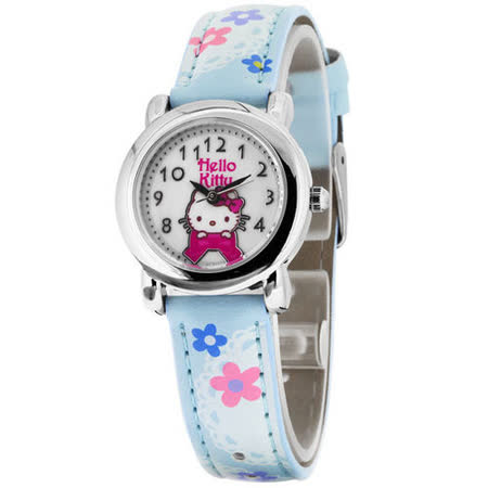 Hello Kitty 蕾絲花園俏麗腕錶-藍