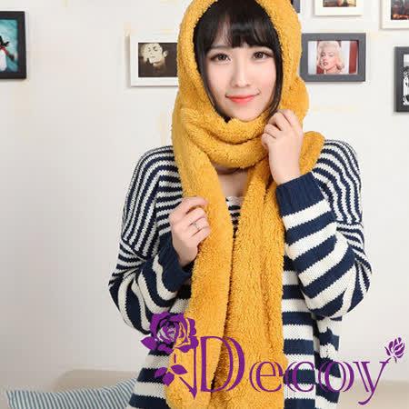【Decoy】保暖羔羊*連帽多功能圍巾/黃