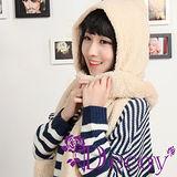 【Decoy】保暖羔羊*連帽多功能圍巾/米