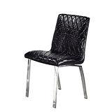 Bernice - 康諾黑鱷餐椅(白鐵腳.鱷魚皮紋)