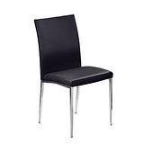 Bernice - 柯提斯新白鐵餐椅(白鐵腳座.黑色皮面)