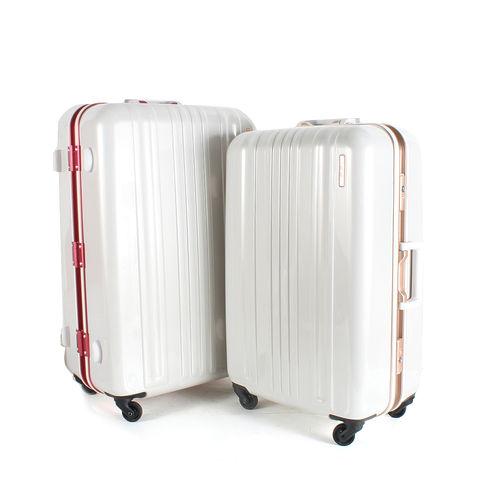 MOM JAPAN 日本品牌 25吋 亮彩系列 鋁框鏡面海關鎖旅行箱 雙色 MF6008-大葉 高島屋25-RD