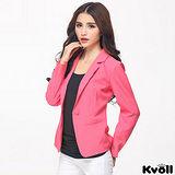 【KVOLL大尺碼】梅紅色單扣修身西裝外套