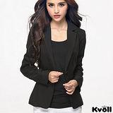 【KVOLL大尺碼】黑色單扣修身西裝外套