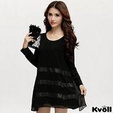【KVOLL大尺碼】黑色條紋拼接雪紡連衣裙