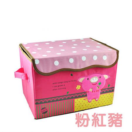 日式立體刺繡卡通收納箱(粉紅豬)