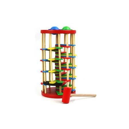 【funKids】 木製-兒童自由落體環形階梯滾珠教具組
