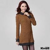 【KVOLL大尺碼】咖啡色圓點襯衫領假二件洋裝