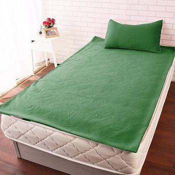 HomeBeauty 玫瑰舒柔防潑水保潔墊 綠色單人