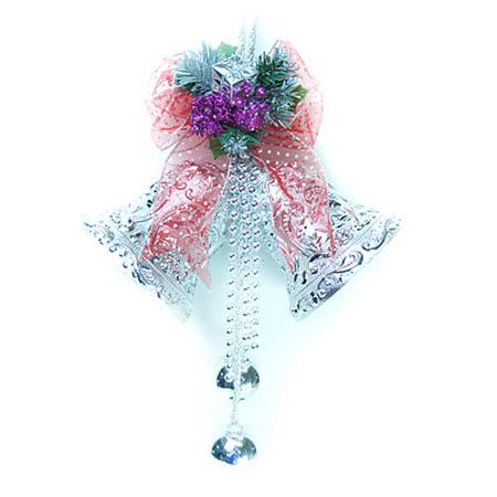 8吋浪漫透明緞帶雙花鐘吊飾(紅銀色)
