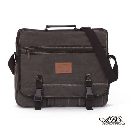 ABS愛貝斯 經典簡約 插釦式帆布斜背包 A4可入(黑灰)130