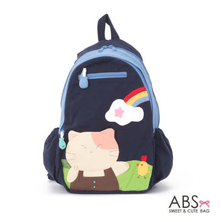 ABS貝斯貓 Rainbow&Cat  拼布雙肩後背包 (海洋藍) 88-169