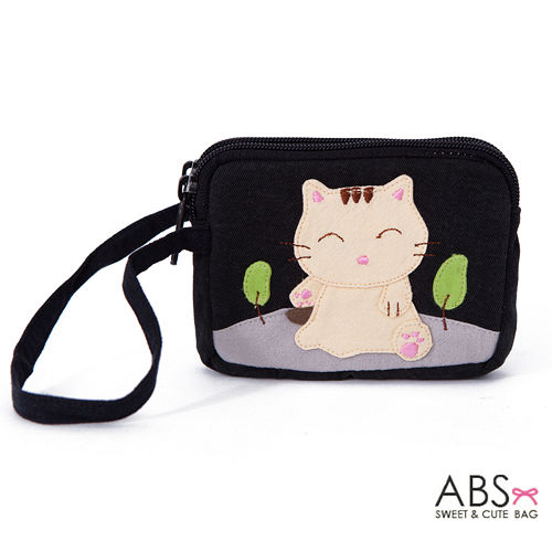 abs贝斯猫 可爱猫咪拼布双层拉鍊零钱包 钱包 (个性黑) 88-153