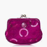 COACH 亮片造型珠釦零錢包_紫色