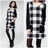 Kate❤Classic 加厚加絨黑白方格顯瘦A字裙洋裝(DS00132S)