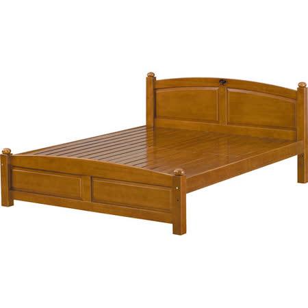 日式量販 經典柚木色5尺實木雙人床架