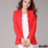 【KVOLL大尺碼】大紅色無領開襟西裝外套